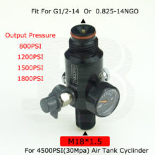 PCP Airsoft 4500PSI HPA Air Tank Regulator Valve  M18*1.5 Thread Output Pressure 800PSI/1200PSI/1500PSI/1800PSI